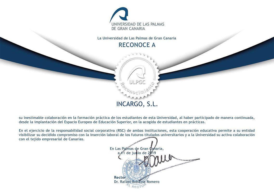 Reconocimiento de la Universidad de Las Palmas